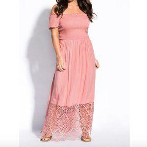 City Chic Smocked Pink Maxi Dress